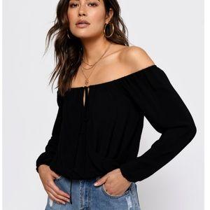 Brand New Black Tobi Off the Shoulder Top